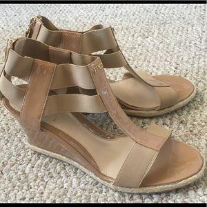 Fendi T Strap Nude Wedge Sandals